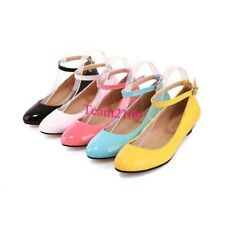 New Women's Low Heel Pumps Round Toes Synthetic Leather Strap Shoes All Size
