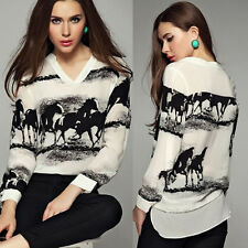 Womens рубашка Long Sleeve Casual Black Horse White Shirt Chiffon Tops Blouse