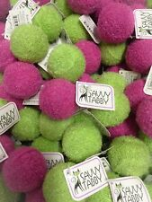 Savvy Tabby Cat Toy Soft Knit Covered Rattle Balls Nice on Feline Claws