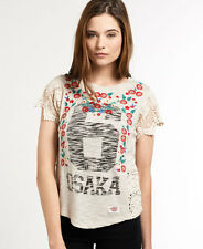 New Womens Superdry Premium Lace T-shirt Dusty White