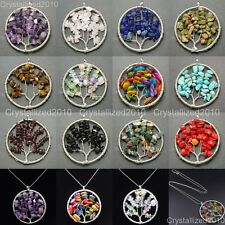 Natural Gemstones Mixed Colorful Chips Tree of Life Healing Pendant Necklaces