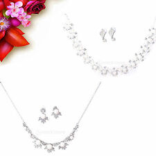Fashion Women Crystal Rhinestone Pearl Pendant Necklace Earrings Jewelry Set