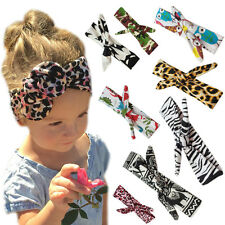 Baby Girl Bow Hairband Turban Knot Animal Print Headband Rabbit Leopard Headwrap