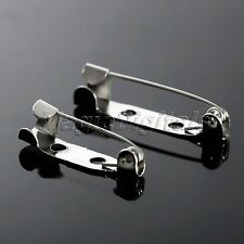 2 Hole Silver Tone Brooch Badge Locking Findings Back Safety Catch Bar Pin 50Pcs