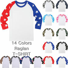 3/4 Sleeve Raglan Baseball Tee Jersey Team Sports Camouflage Star Flower Raglan