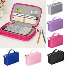 New Pencil Box Case Stationery Zipper Eye Brush Storage Pouch Makeup Bag