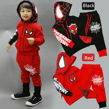 Kids Baby Boys Clothing Super Hero Spider-man Hoodie Coat +Pants New Outfits