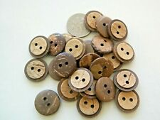 New lot of 12 Real Vegan Natural Coconut Shell Buttons sizes 5/8 - 2 hole  #NC1