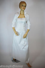 Lady Taffeta Strap White Dress w/Bolero Long Debutante Wedding Formal Party Ball