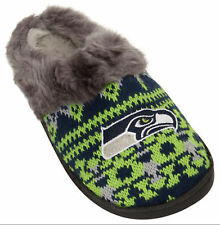 Seattle Seahawks NFL Woman's Faux Fur Aztec Slide Slippers Shoe Embroidered Logo