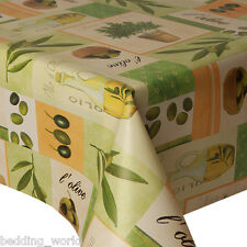 PVC TABLE CLOTH OLIVES GREEN OIL LEAF PLANT POTS BOXES WIPEABLE PROTECTOR VINYL