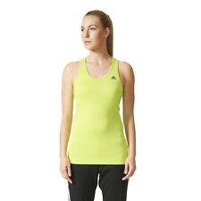 Adidas TechFit Solid Womens Yellow Climalite Running Sports Vest Tank Top