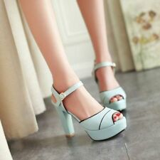 Womens Hot Chunky High Heels Platform Buckle Sandals Pumps Dress Shoes Plus Size