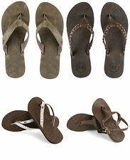 Ladies Urban Beach Leather Summer Flip Flops & Brown Sandals