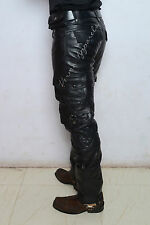 Leather biker jeans pant military army cargo  camouflage Cowhide harley davidson