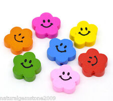 Wholesale Mixed Color Cute Smiling Flower Wood Beads 20x20mm