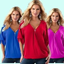 Women Sexy V-neck Zipper Loose Tops Summer 3/4 Sleeve Casual Work Shirts Blouses