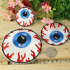 Goth Punk Rock Blooding Eyeball Embroidered Iron On Applique Motif Patch Newest