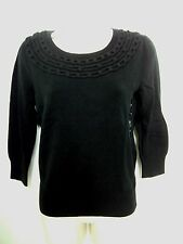 BANANA REPUBLIC Womens Black Chain Link 3/4 Sleeve Sweater Size XS,S NWT