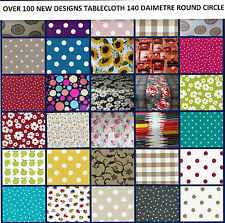 ***Wipe Clean Tablecloth Vinyl oilcloth PVC ALL DESIGNS 140 cm ROUND Circle