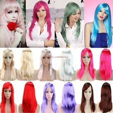 "19""20"" Women's Cosplay Wig Curly Straight Hair Full Wigs Costume Wigs Black Cap"