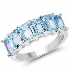 18k VERMEIL-4.08CTW VVS Emerald Cut Genuine Blue Topaz Sterling Band Ring/925/SS