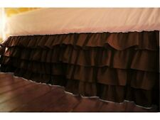 "Soft Multi Ruffle Bed Skirt Egyptian Cotton 1000 TC Drop(15"") Chocolate Solid"