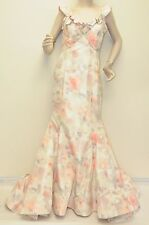$8350 New Oscar de la Renta cream Peony Silk Faille Dress Bow Decolletage Gown 8