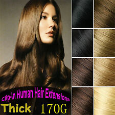 170g Queen Thick Virgin Clip In Remy Hair Extensions Real Human Hair Clip 8pcs