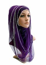 Net with Silver Pearls Maxi Big Large Scarf Wrap Shawl Hijab Sarong Big Oversize