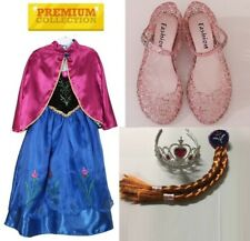 Frozen Elsa Anna Necklace Tiara Shoes Costume Birthday Girls Cape Tulle Dress