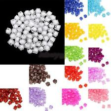 100pcs 10mm Colorful Square Acrylic Faceted Loose Spacer Beads Handmade Jewelry
