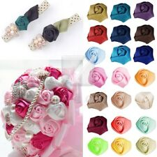 NEW DIY 10pcs 25mm Satin Ribbon Rose Flower DIY Craft Wedding Appliques