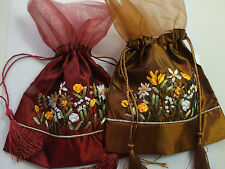 ONE Satin Organza Floral Ribbon Drawstring Pouch Bag Jewellery Gifts Storage