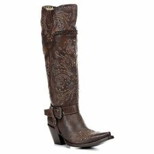 Corral Womens Whip Stitch & Studs Knee High Boot G1116