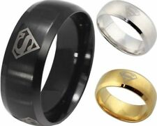 8mm Ring 316L Stainless Steel Superstar Hero Band Ring Solid Men Jewelry Black