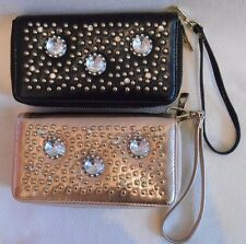 CRYSTAL STUDDED Double ZIP AROUND Wallet  WRISTLET with REMOVABLE STRAP