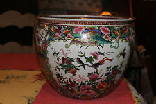 Stunning Chinese Famille Rose Fish Bowl Planter-Large-Signed-Colorful Flowers