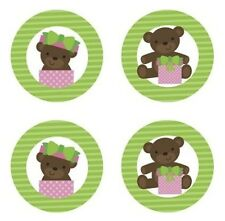 Teddy Bear Baby Girl {Green} Edible Cupcake Toppers Decoration