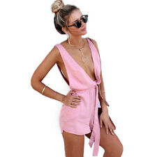 Summer Hot Women Sexy Deep V-Neck Bandage Rompers Lady Blackless Tunic Playsuits