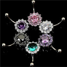 Flower Steel Zircon Crystal Navel Belly Ring Button Bar Body Piercing Jewelry PE