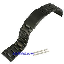 New Black Lug 18 20 22 24 26 mm Solid Stainless Steel Bracelets Watch Band Strap