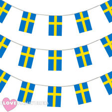 SWEDEN BUNTING 33FT SWEDISH FLAG DECORATION 20 FLAGS 10 METRES EURO FOOTBALL '16
