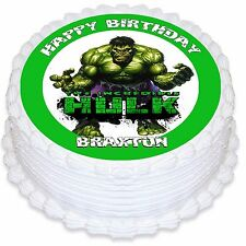 Incredible Hulk Personalised Round Edible Icing Cake Topper - PRE-CUT