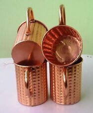Unlined Moscow Mule Copper Mugs, Solid Copper Mugs 16 oz Straight Hammered