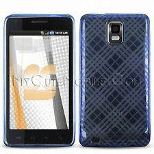 Samsung Infuse I997 Case Plaid Design TPU Durable Skin Cover (Blue/Clear/Gray)