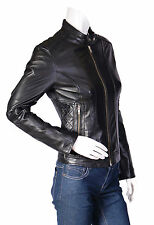 Womens Real Leather Biker Jacket Amy Black Slim Fit Zip Up Standing Collar Coat