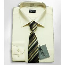 Boys Formal Cream Shirt And Tie Set Wedding Prom Ivory Smart Device Suit Shirts