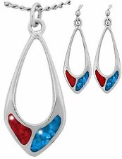 Red Blue Turquoise Set Wheeler Teardrop Wire Earring Necklace Pendant USA Made