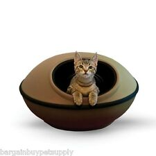 KH Mfg Mod Dream Pod Hide-a-Away Enclosed Cat Dog Pet Hut Cave Bed Tan/Black 22""